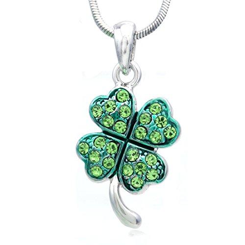 - St. Patrick's Day Irish Good Luck Charm Green Shamrock Four Leaf Clover Necklace Pendant