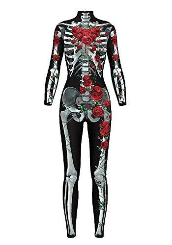 Honeystore Women's Halloween Skeleton Catsuit Costume 3D Stretch Skinny Bodysuit bds-97002 ()