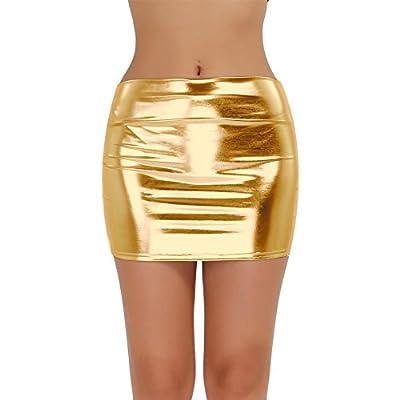 TiaoBug Women Shiny Wetlook Metallic Liquid Clubwear Party Short Mini Skirt