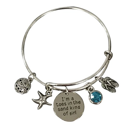 Toes in the Sand Kinda Girl Bracelet, Beach Jewelry, Gift for Beach ()
