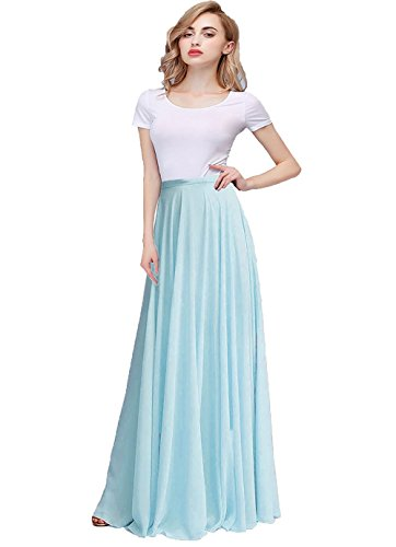 Blue Maxi Honey Dresses Long Chiffon Woman High Baby Waist Qiao Bridesmaid Skirt wwpqUO