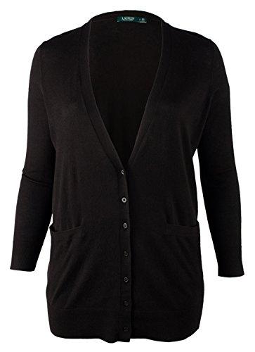 (Lauren Ralph Lauren Plus Size Cotton Modal Cardigan (3X, Black))