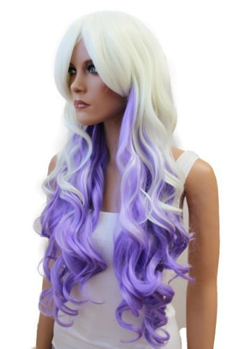 Women s Long White Platinum Blonde   Purple Soft Wavy Curled Heat-Resistant  Synthetic Full Hair e003cc0c74