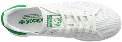 Adidas Mens Stan Smith, Ftwwht / Ftwwht / Green, 7 M Us