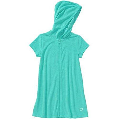 OP Girls Zip-Up Terry Swimwear Cover Up (x-small 4/5, Aqua)