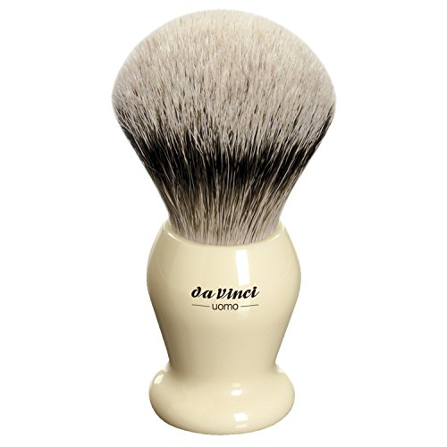 da Vinci Shaving Series 294 UOMO Silvertip Shaving Brush, Badger Hair with Ivory Handle, 22mm, 50 Gram