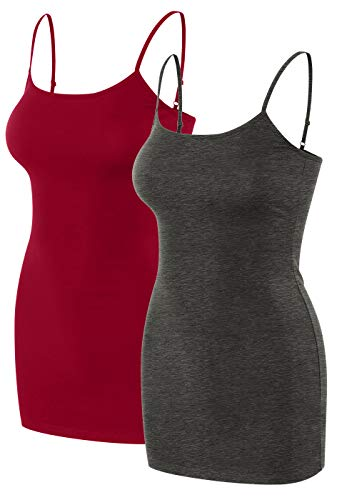 sixth avenue 2 Pack Womens Basic Long Length Adjustable Spaghetti Strap Cami Tank Top Camisole (S~3XL) Red/Charcoal S ()