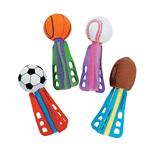 Ball Party Favors - Fun Express Foam Mini Sport Ball Missiles Toy - 24 Pieces