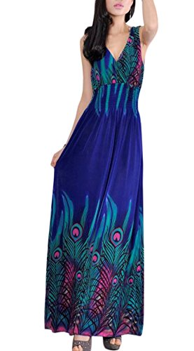 VSVO Women's Peacock Maxi Long Beach V Neck Dresses (Adult, - Peacock V-neck Womens