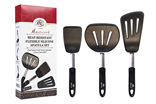 cooking-utensils-set-by-mastecooktop-grade-high-heat-resistant-silicone-slotted-flexible-turner-set-