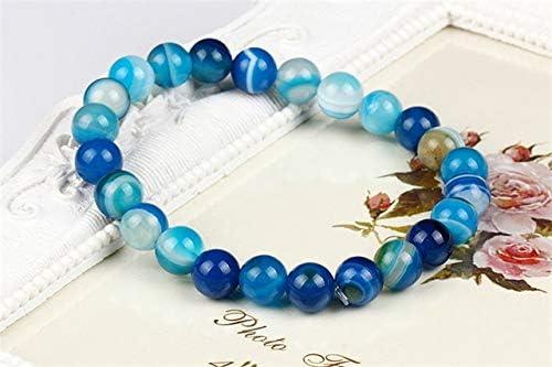 Pulseras de Piedra de turmalina Natural Genuina Colorida de 8 mm para Mujeres Yoga Charm Stretch Round Bead Bracelet Azul