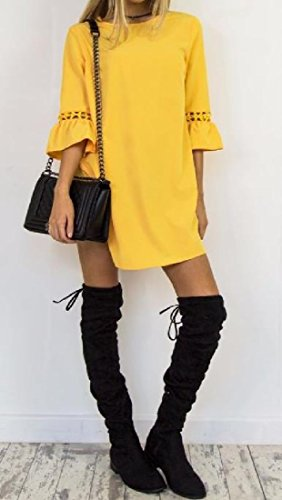 Lace Candy Splice Top Loose Tunic Mid Yellow Color Comfy Dress Women s Line A H1nx0Uw8