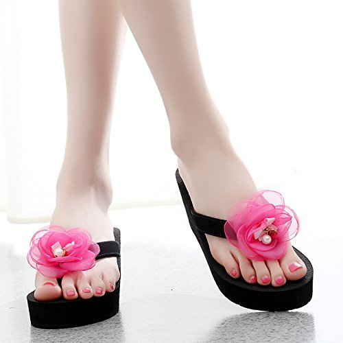 grueso calzado Black y tacón de de de flops pies la inferior mujeres elegante Zapatillas llevar zapatillas alto playa pinzar versión verano dama flip coreana blue and los Simple 45gvnqw6