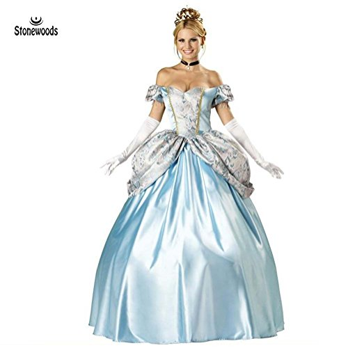 [Stonewoods Snow White Princess Cosplay Deluxe Edition Cinderella Halloween Palace Long Dress] (Cinderella Fancy Dress Adult)