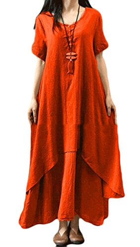 Fake Fit Short Loose Sleeve Womens Solid Dress Linen Cotton Orange Layered Two Cromoncent Color wtx8X0qq