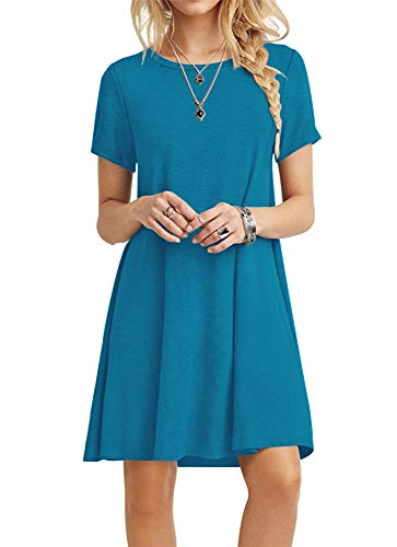 POPYOUNG Women's Summer Casual Tshirt Dresses Beach Dress Large, Acid Blue