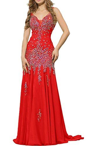 La Braut mia mit Damen Lang Ballkleider Ausschnitt Abendkleider Steine Chiffon Abschlussballkleider V Rot nrngHa