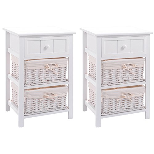 Giantex Set of 2 Wooden Nightstand W/Storage Drawer, 2 Baskets and Open Shelf for Bedroom Beside Sofa White End Table ()