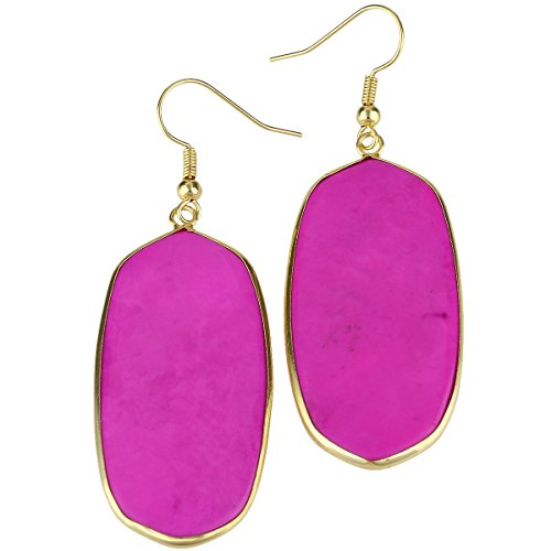 Pink Oval Stone - rockcloud Pink Howlite Turquoise Stone Dangle Hook Earrings Oval Gold Plated