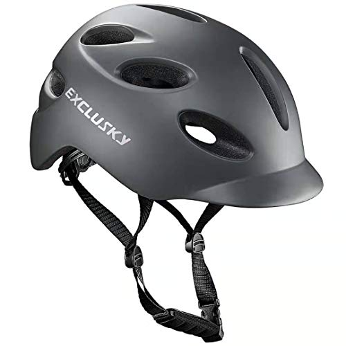 Exclusky Adult Bike Helmet with Rear Light, CPSC Certified Cycling Bicycle Helmets for Urban Commuter, Adjustable Size for Adult Men/Women - Gray