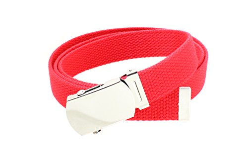 Kids Canvas Web Belt Chrome Silver Buckle/Tip Solid Color - Red