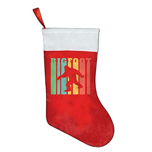 JE00PY& Christmas Stocking, Classic Vintage Retro 1970s Rainbow Bigfoot Pleuche Santa Snowman Stocking for Kids Gift Bags with Cuff]()