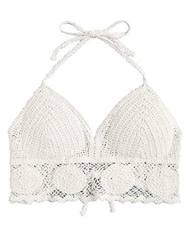 SweatyRocks Women's Summer Beach Backless Crochet Halter Bikini Crop Top 3-White One -