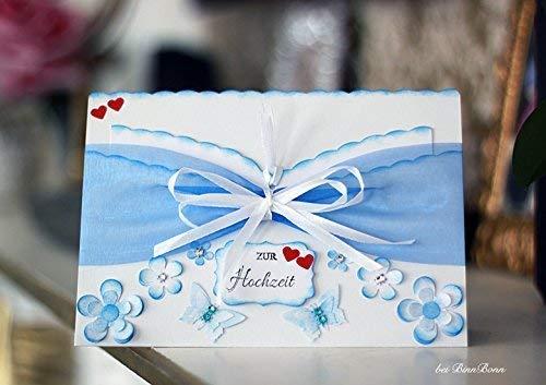 Personalisierte XL Gl/ückwunschkarte mit Umschlag Hochzeitskarte Gl/ückwunsch Geschenk Geldgeschenk Gutschein zur Hochzeit 20x14cm Handarbeit binnbonn