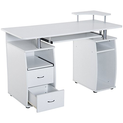 - White Wooden Home Office Style Computer Desk CPU Storage Keyboard Tray Scanner Shelf 2 Storage Drawers Printer Shelf Laptop Notebook PC Workstation Study Writing Reading Table High-Functioning Design