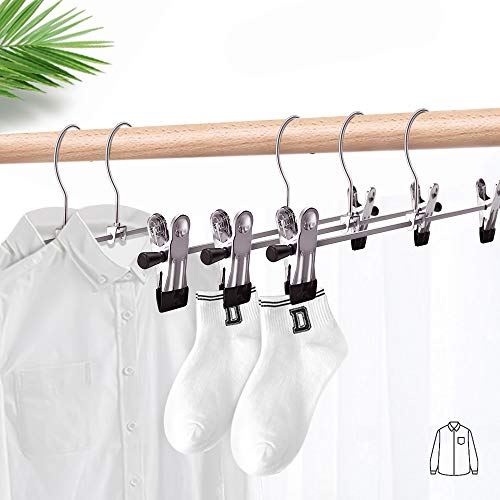 Wskderliner Pant Hangers with Clips Space Saving, 10 Inch Metal Skirt Hangers Non Slip Clip Heavy Duty Pack of 10