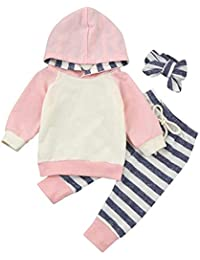 Baby Boys Girls Clothes Long Sleeve Hoodie Tops Sweatsuit Pants Headband Outfits Set Pink