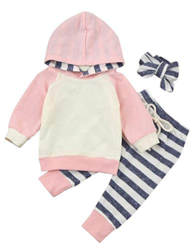 Newborn Baby Girls Clothes Long Sleeve Summer Breathable Hoodie Tops Sweatsuit Pants with Headband Outfits Set(18-24 Months) -