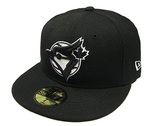 MLB Toronto Blue Jays Black with White Logo 59FIFTY Fitted Cap, 8