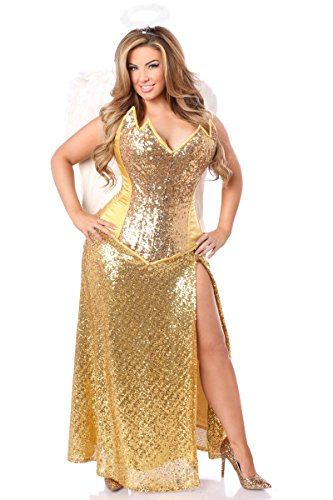 Daisy Corsets Women's Top Drawer 4 Pc Gold Sequin Angel Costume, Xlarge