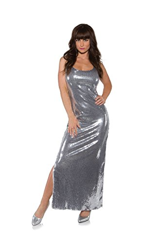 Jessica Day Halloween Costume (Underwraps Women's Sequin Dress Long, Silver, Small)