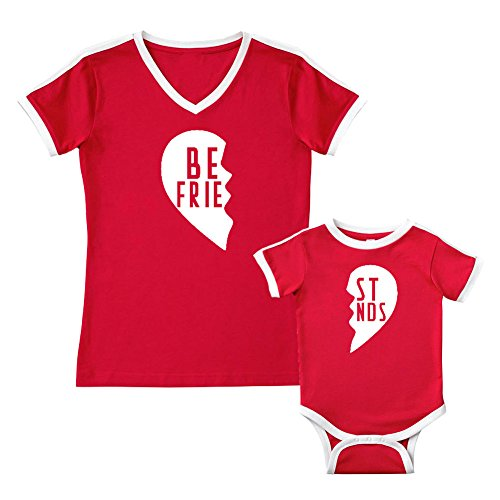 We Match!! - Best Friends (Two Halves of a Heart) - Matching Women's Soccer Ringer T-Shirt & Baby Bodysuit Set (6M Bodysuit, Women's Soccer Ringer T-Shirt 2XL, Red, White Print)