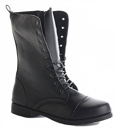 Womens Flat Military Style Ankle Black Lace Size Combat Up Girls Black Boots Army Ladies UqrnU0R