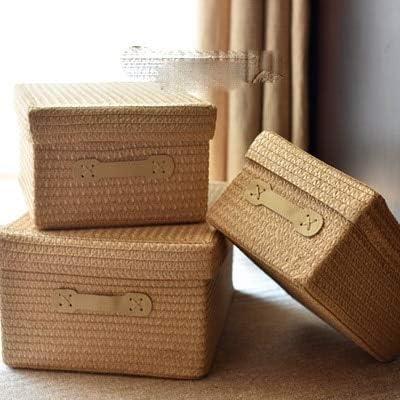 YUANSS Covered Storage Box Thickening Imitation Grass Woven Storage Basket Desktop Clothing Storage Box Large Drawer