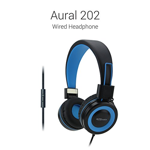 Portronics Aural 202 Wired Headphone (Blue) with In-Line Mic