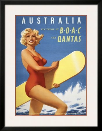 fly-to-australia-by-boac-and-qantas-framed-art-poster-print-28x36