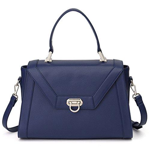 5afcec98e49 Galleon - Kadell Women Leather Designer Handbags Shoulder Bag With Cross  Body Strap Satchel Dark Blue