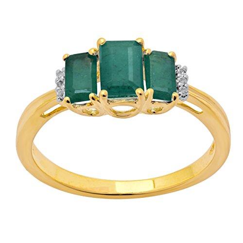 Jewelili femme  9carats (375/1000)  Or jaune|#Gold Emeraude   Vert Smaragd Topas FASHIONRING