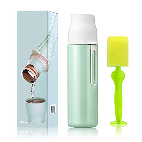 (Elegant Life Vacuum Insulated Stainless Steel Water Bottle 17 oz Cold 24 Hours Hot 12 Hours Double Wall Thermos Leak Proof Sports Water Bottle -Match with a Cleaning Brush)