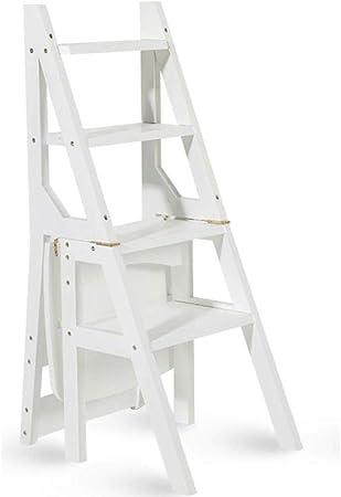 DNSJB Escalera multifunción Taburete Hogar Madera Maciza IKEA Niños Silla Plegable Provincia Espacio Escalera de Cuatro escalones de Doble Uso Escalera Ascendente 40 × 46 × 90 cm (Color : White): Amazon.es: Hogar