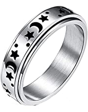 Timetries01 Titanium Stainless Steel Spinner Rings, Moon and Star Fidget Ring Stress Relieving Anxiety Ring Engagement Wedding Promise Band for Women Men Size 6-13