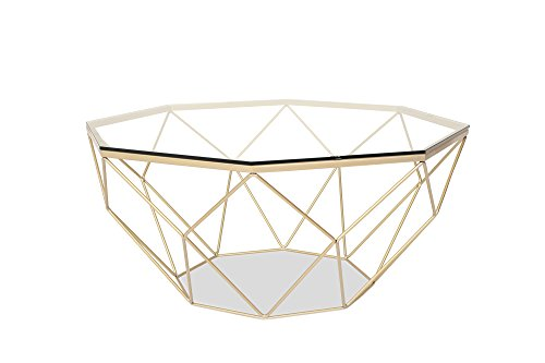 LUNA Modern Glass Coffee Table - Gold Coffee Tables for Living Room - Clear Glass Top
