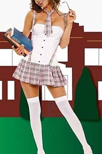 Shangrui Uniformes Mujer Dulce de la Manera Inglaterra School Girl Plisada a Cuadros Traje Blanco