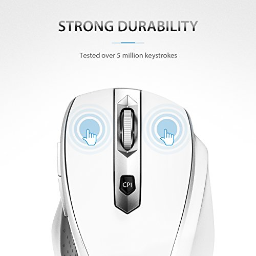 VicTsing MM057 2.4G Wireless Portable Mobile Mouse Optical Mice with USB Receiver, 5 Adjustable DPI Levels, 6 Buttons for Notebook, PC, Laptop, Computer, Macbook - White by VicTsing (Image #5)