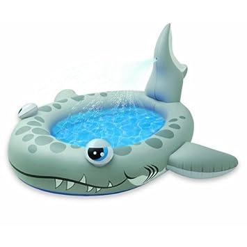 INTEX - Piscina Hinchable con chorros de Agua, Forma de tiburón ...