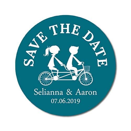 Darling Souvenir Round 45 Pcs Tandem Couple Save The Date Stickers Personalized Bride Groom Names and Date Envelope Seals - Teal Blue